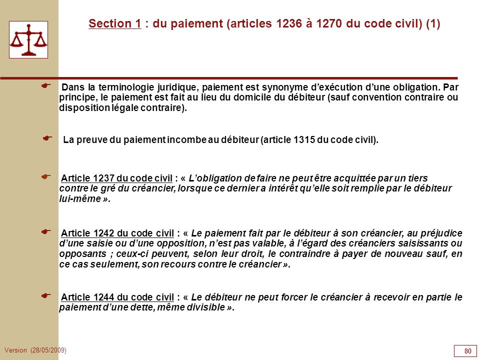 Section 1 : du paiement (articles 1236 à 1270 du code civil) (1)