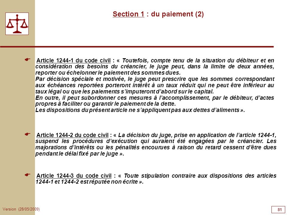Section 1 : du paiement (2)
