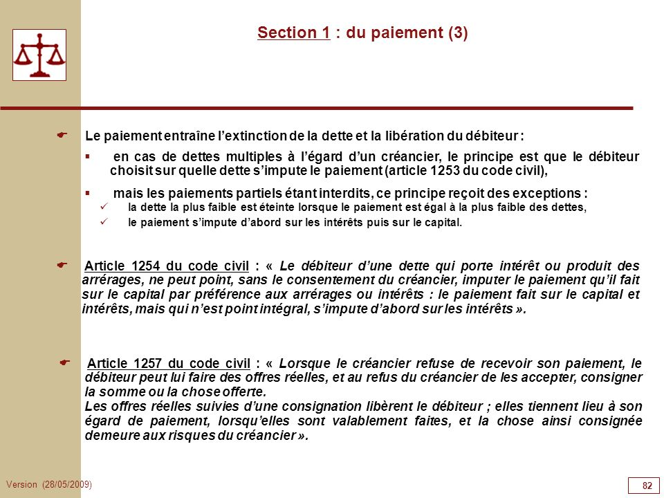 Section 1 : du paiement (3)