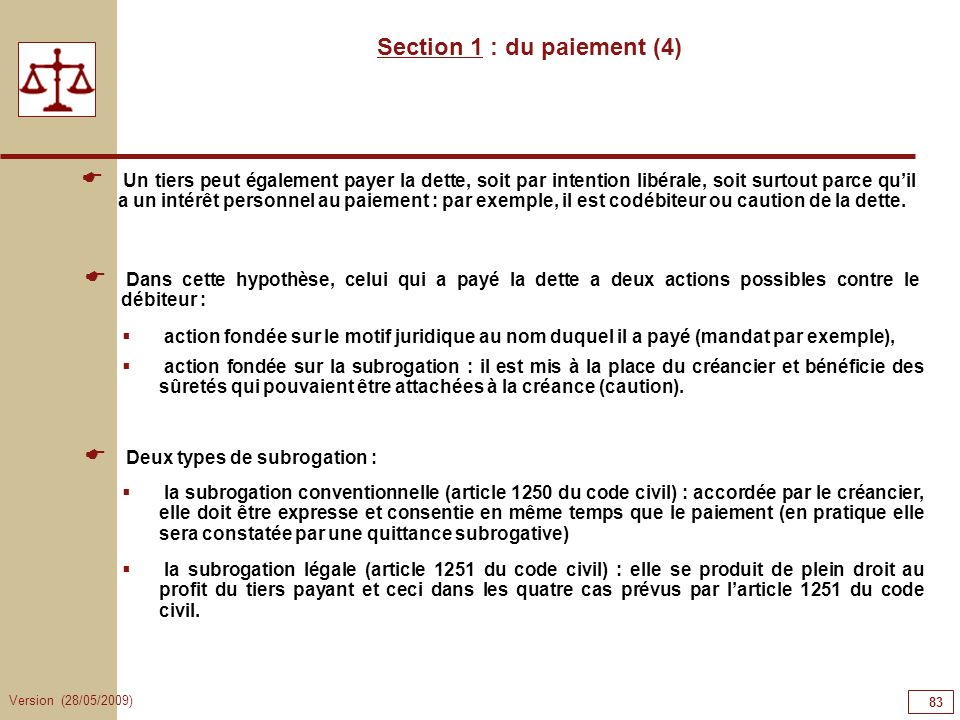 Section 1 : du paiement (4)