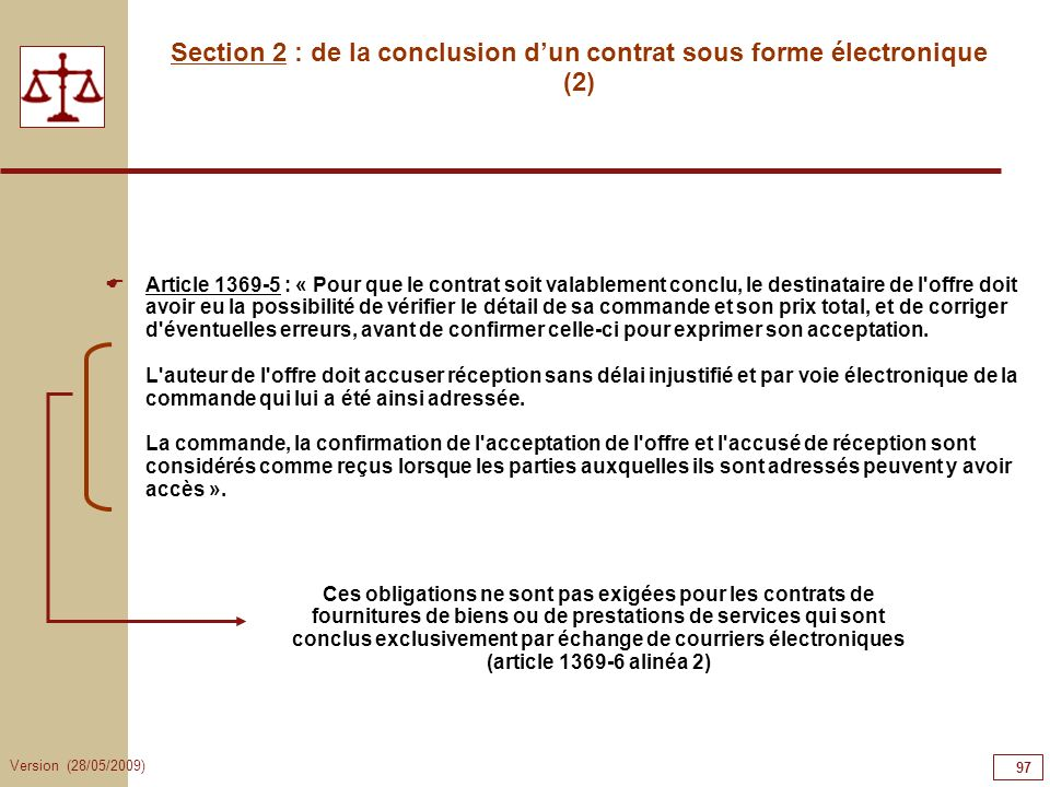 Section 2 : de la conclusion d'un contrat sous forme électronique (2)