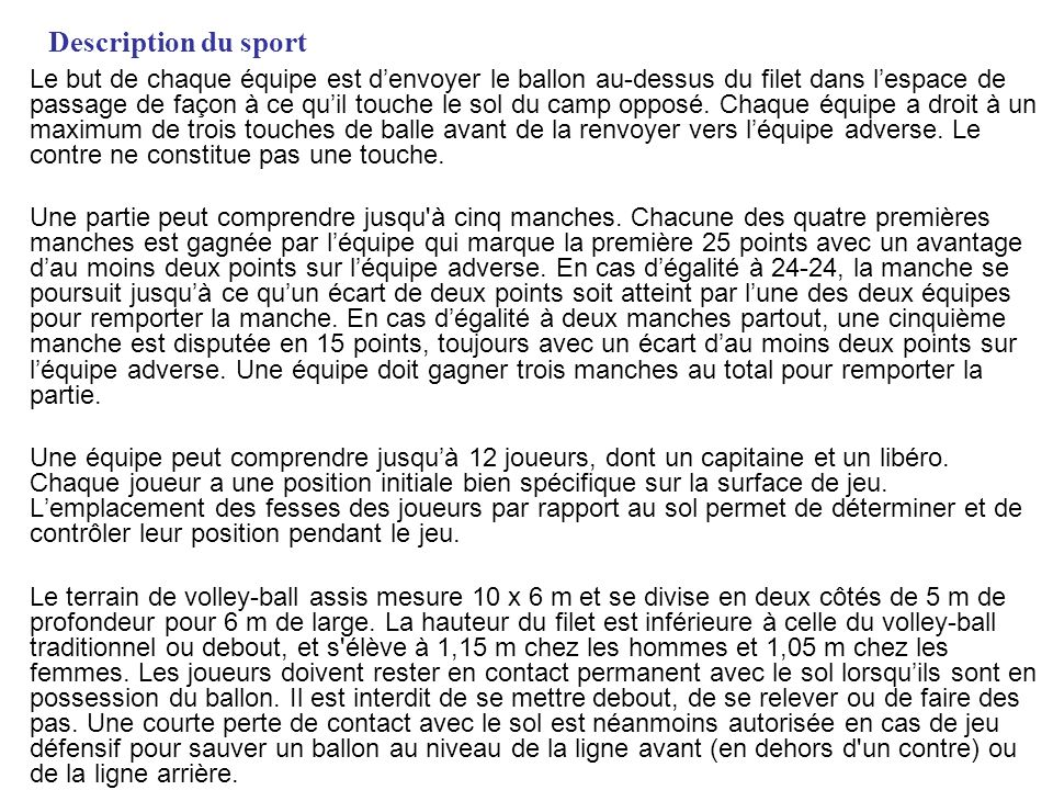 Description du sport