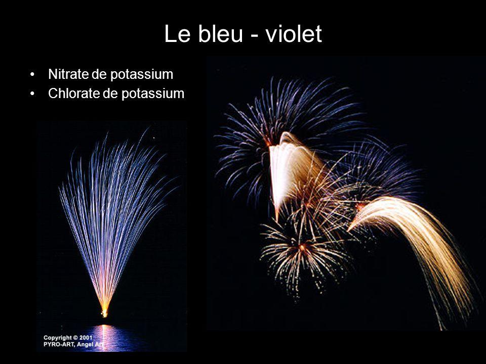 Le bleu - violet Nitrate de potassium Chlorate de potassium
