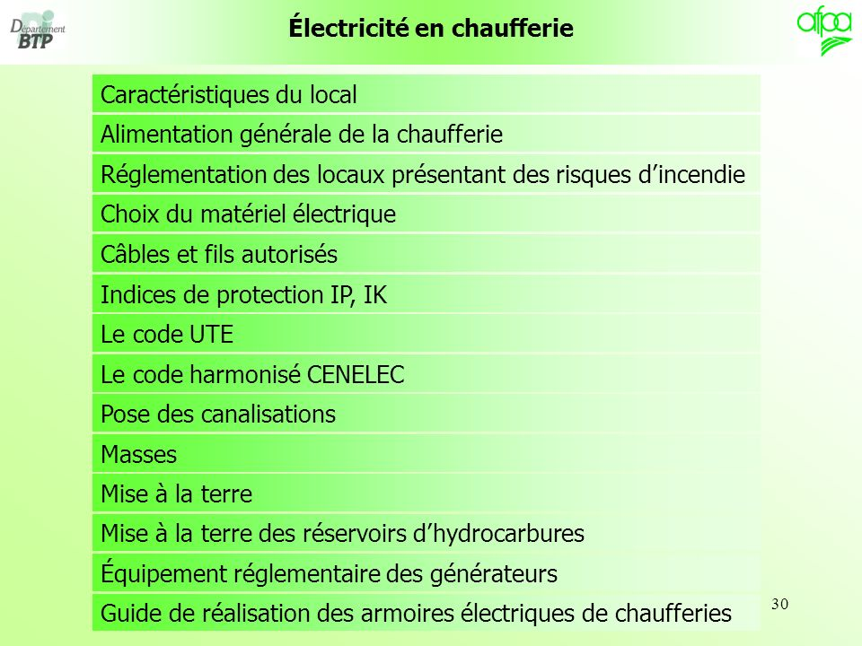 Électricité en chaufferie