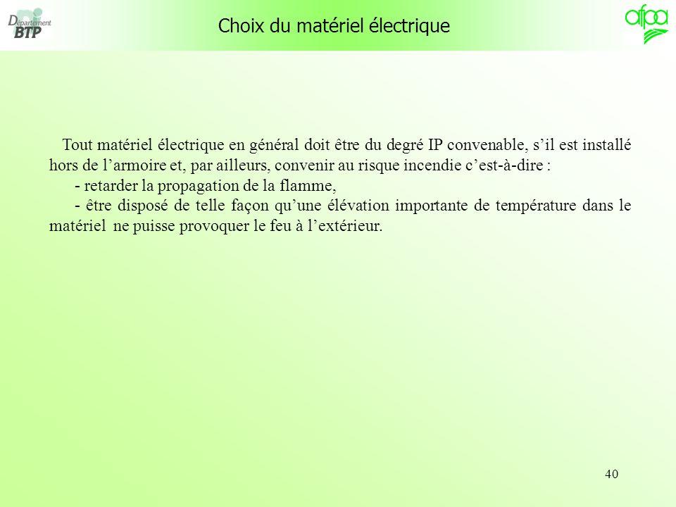 Choix du matériel électrique