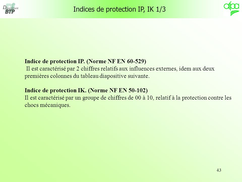 Indices de protection IP, IK 1/3