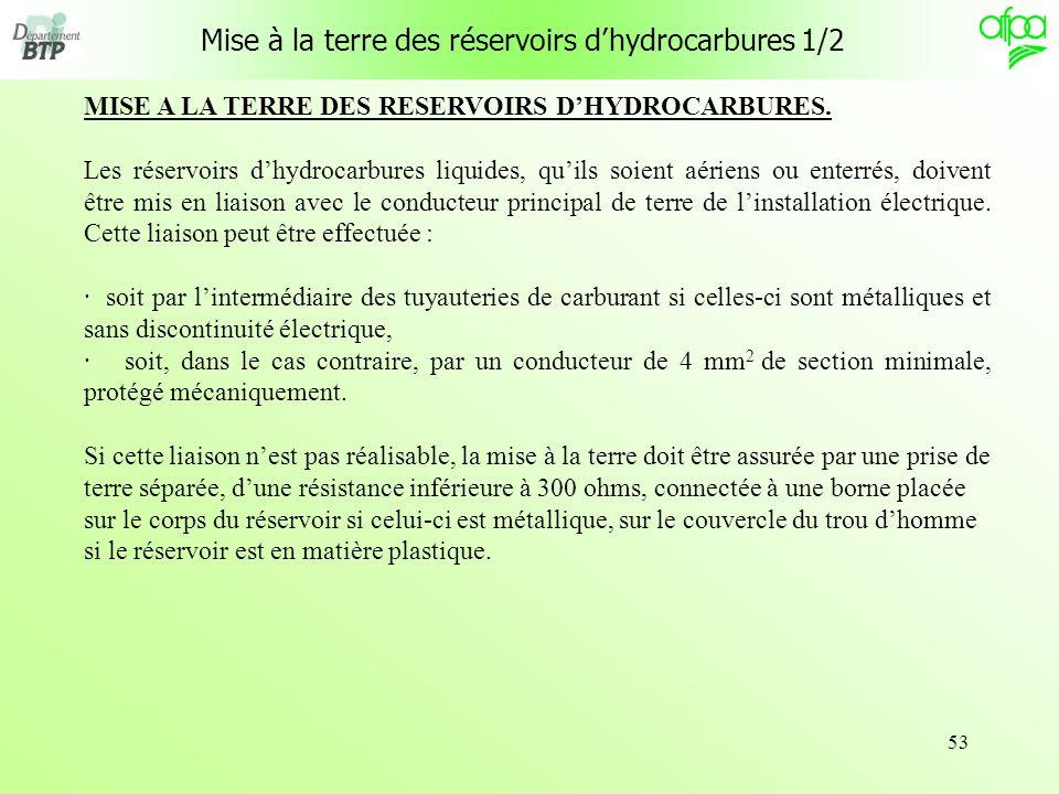 Mise à la terre des réservoirs d'hydrocarbures 1/2