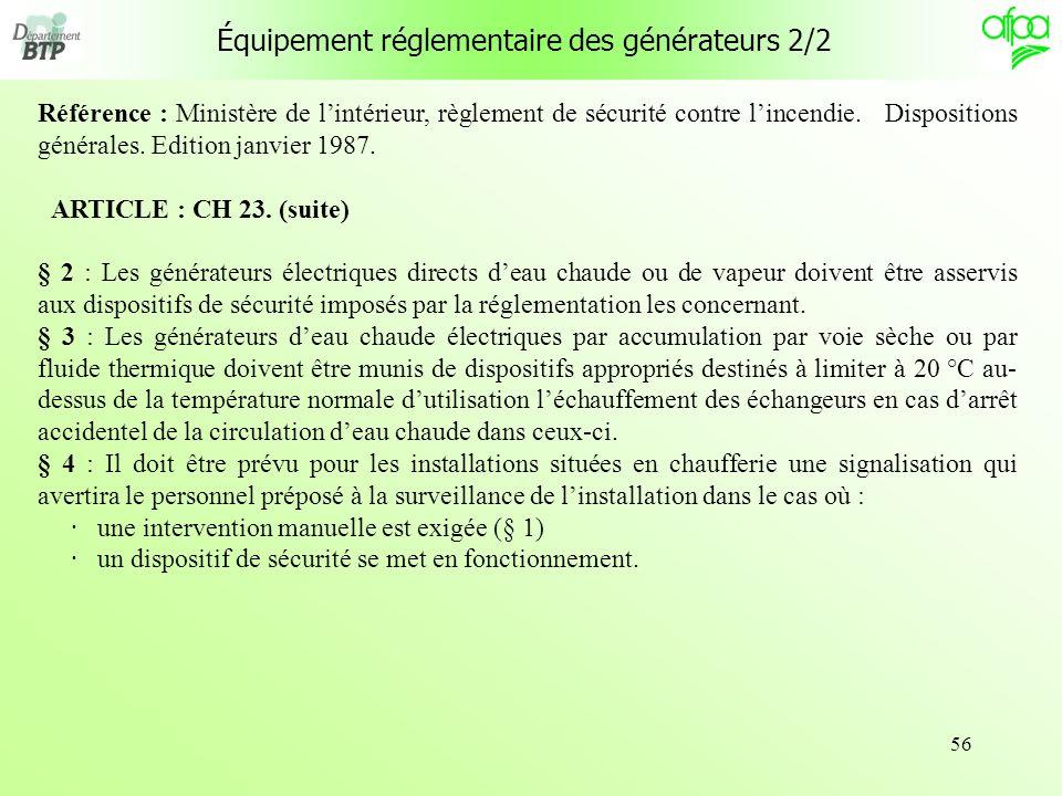 Équipement réglementaire des générateurs 2/2