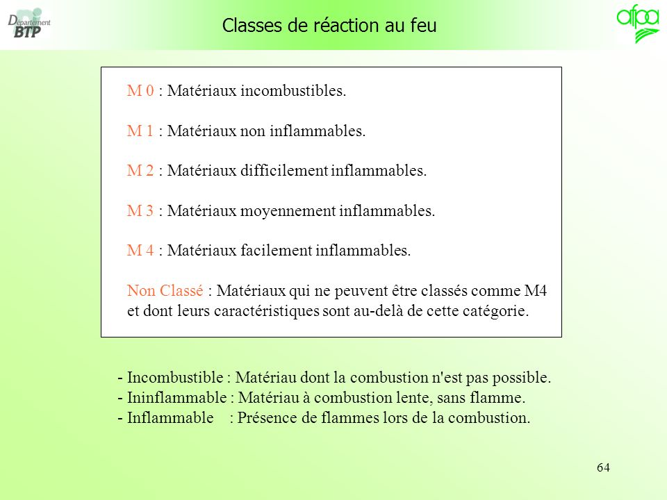Classes de réaction au feu