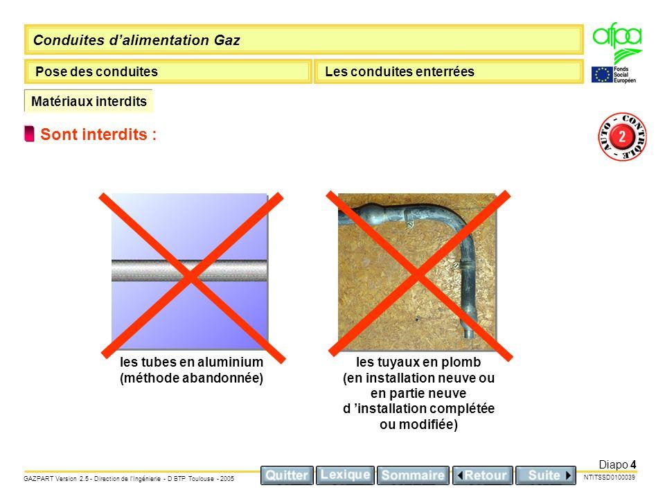 Sont interdits : Matériaux interdits les tubes en aluminium