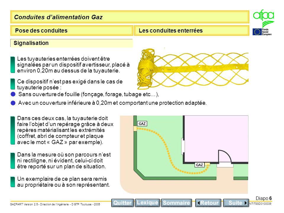 Signalisation Les tuyauteries enterrées doivent être signalées par un dispositif avertisseur, placé à environ 0,20m au dessus de la tuyauterie.