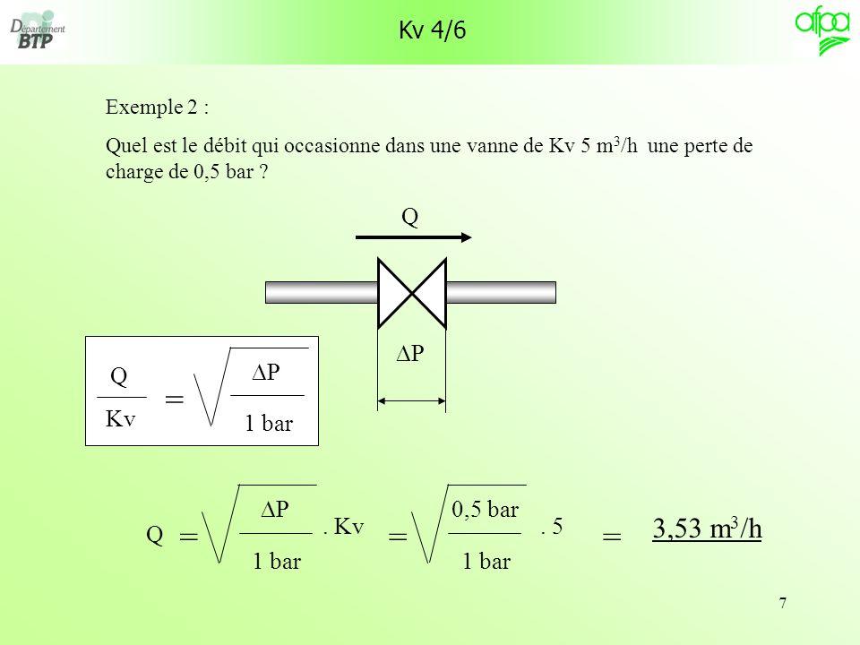 = = = = 3,53 m3/h Kv 4/6 DP Q Kv 1 bar DP Q . Kv 1 bar DP Q . 5 1 bar