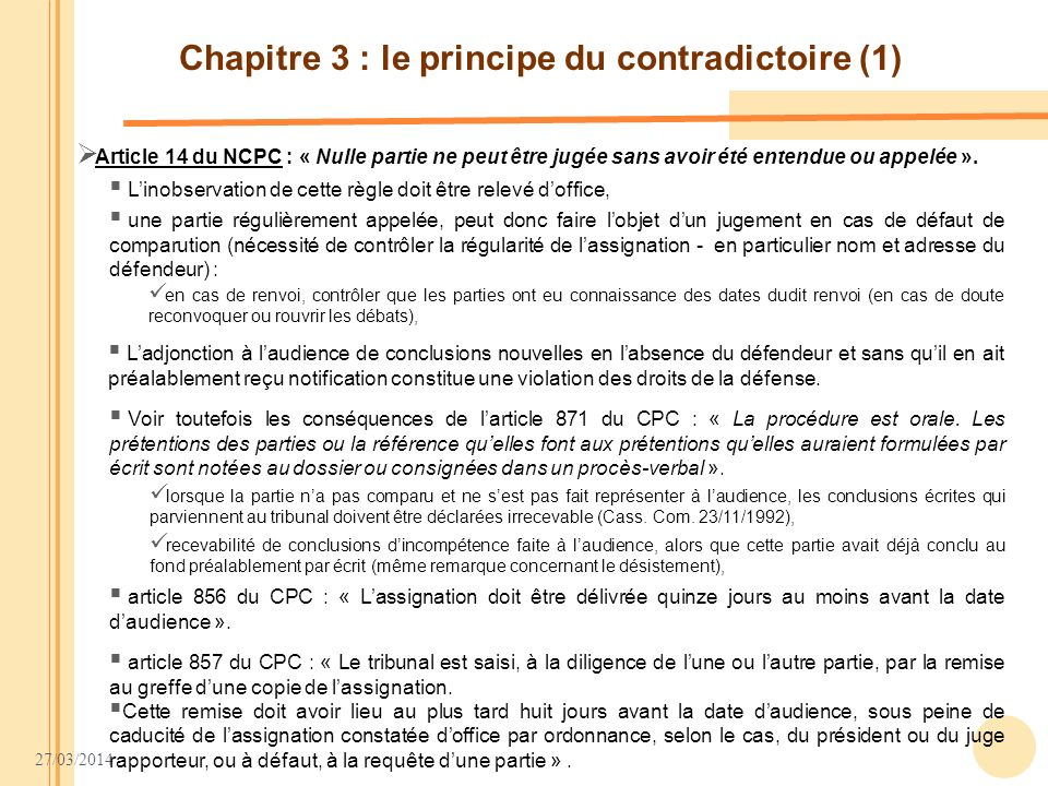 Chapitre 3 : le principe du contradictoire (1)
