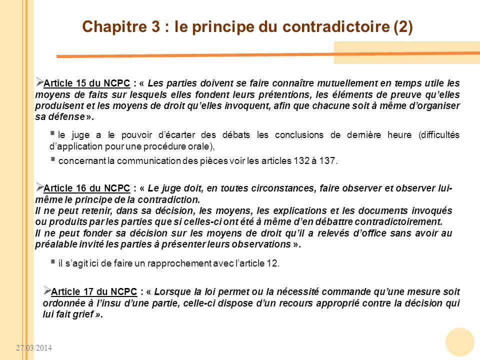 Chapitre 3 : le principe du contradictoire (2)