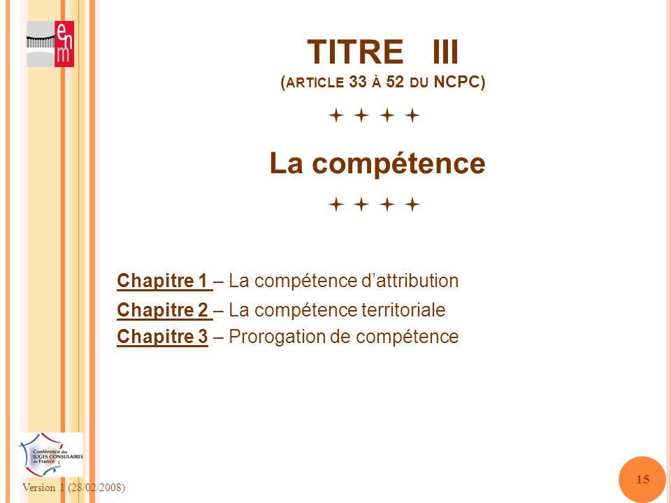 TITRE III (article 33 à 52 du NCPC)