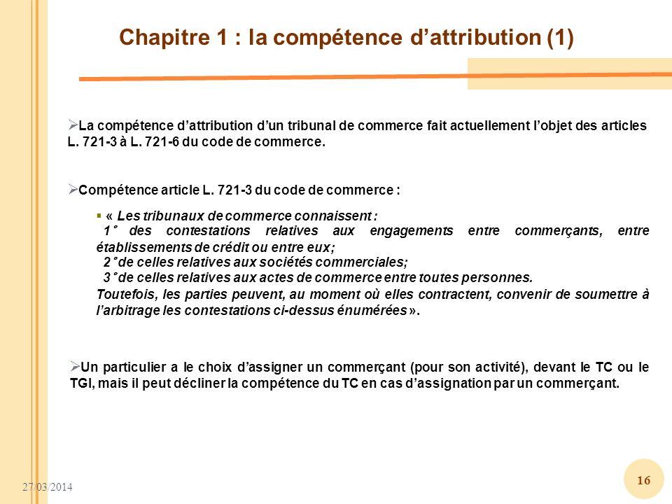 Chapitre 1 : la compétence d'attribution (1)