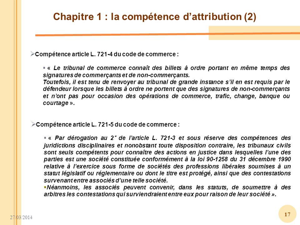 Chapitre 1 : la compétence d'attribution (2)