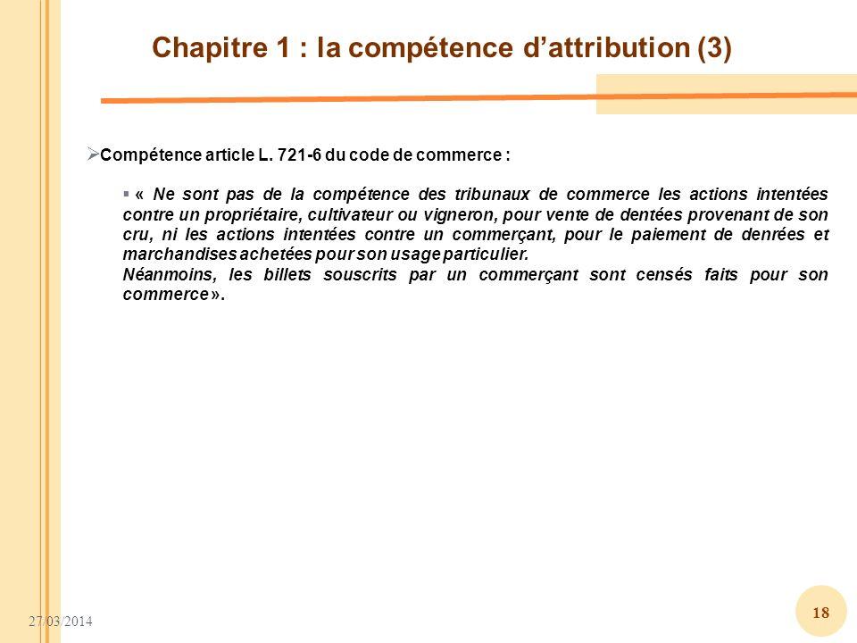 Chapitre 1 : la compétence d'attribution (3)