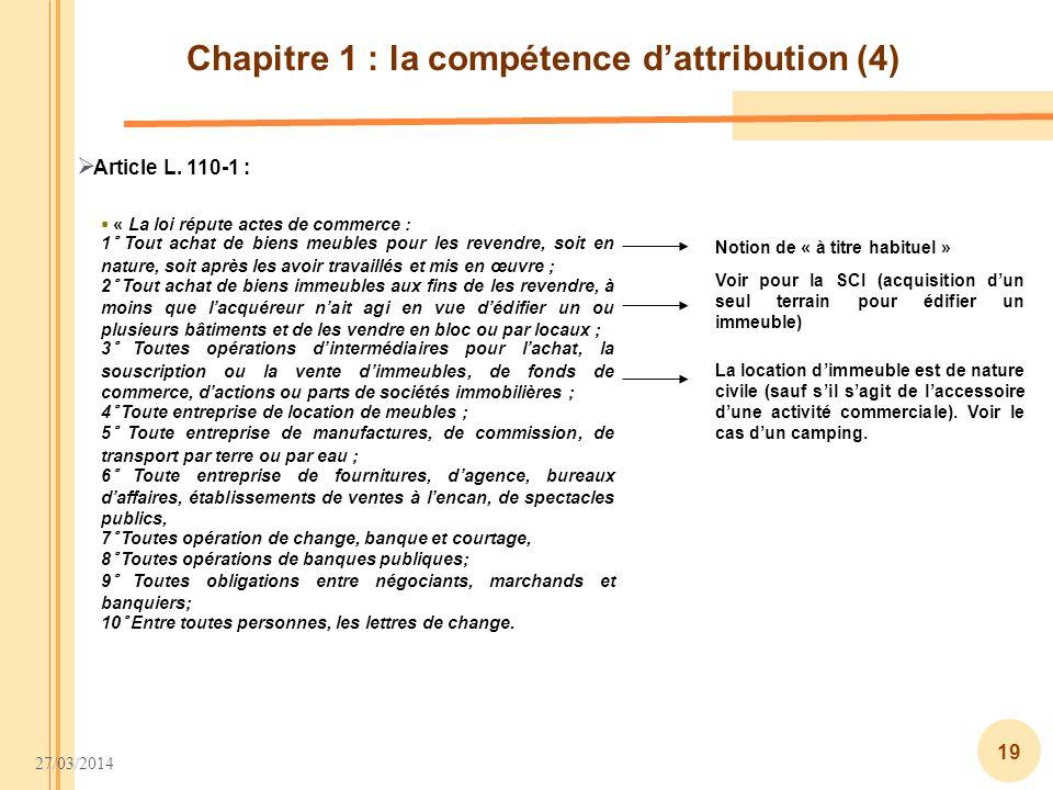 Chapitre 1 : la compétence d'attribution (4)