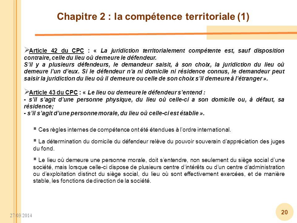 Chapitre 2 : la compétence territoriale (1)