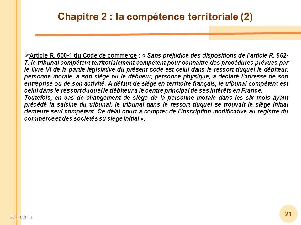 Chapitre 2 : la compétence territoriale (2)