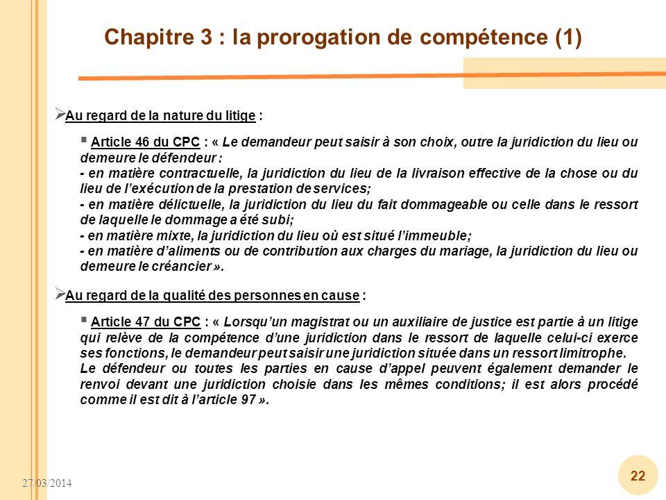 Chapitre 3 : la prorogation de compétence (1)