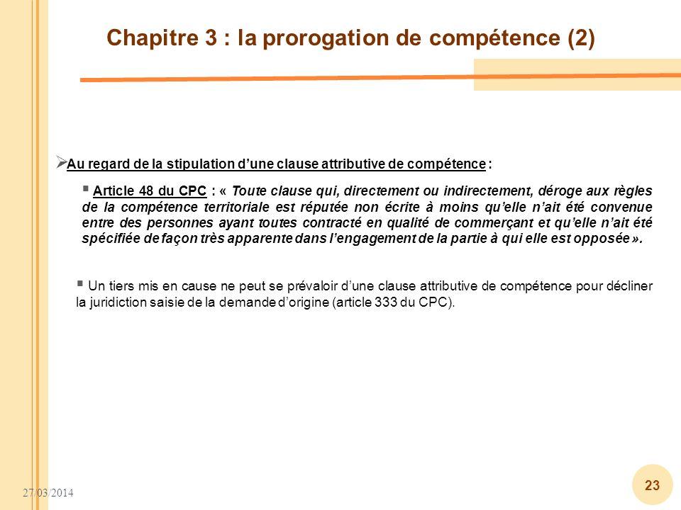 Chapitre 3 : la prorogation de compétence (2)