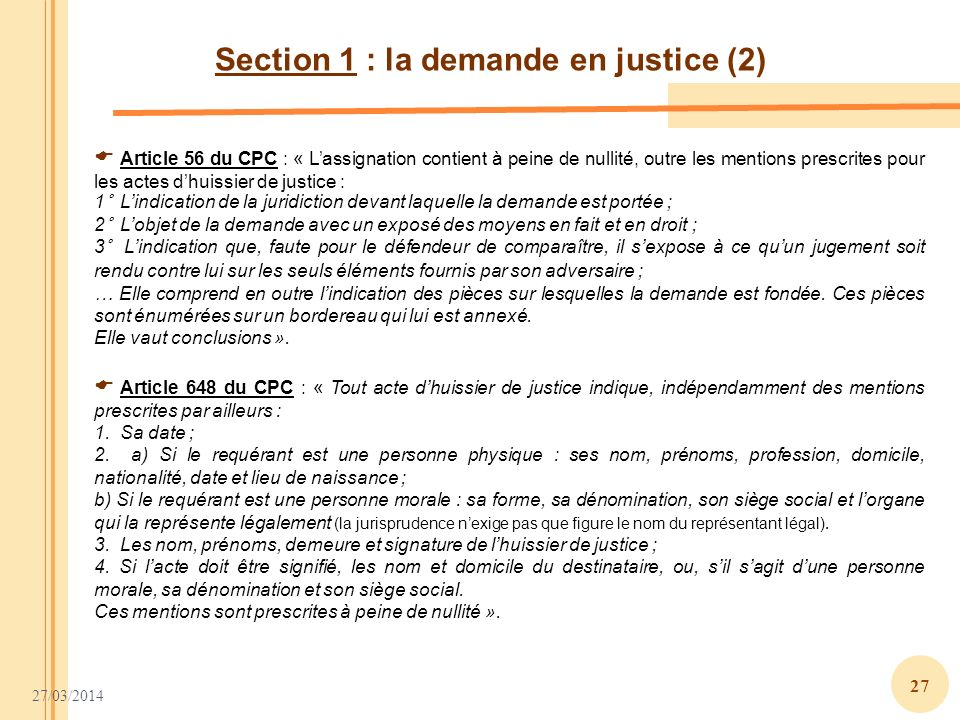 Section 1 : la demande en justice (2)