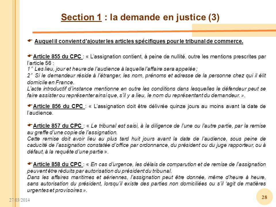 Section 1 : la demande en justice (3)