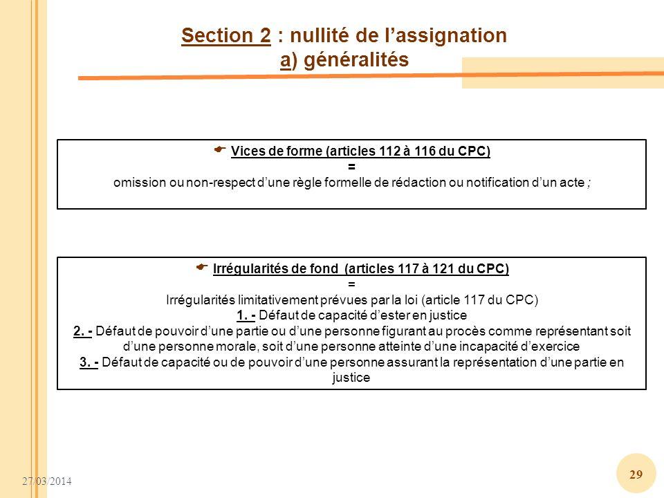 Section 2 : nullité de l'assignation a) généralités