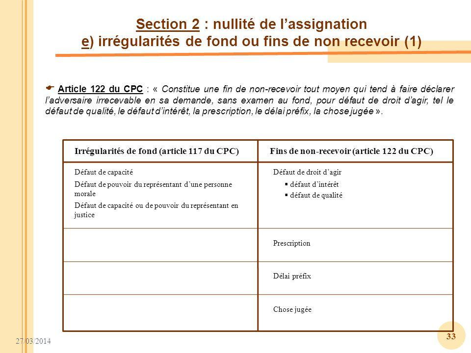 Section 2 : nullité de l'assignation e) irrégularités de fond ou fins de non recevoir (1)