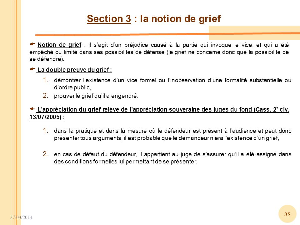 Section 3 : la notion de grief