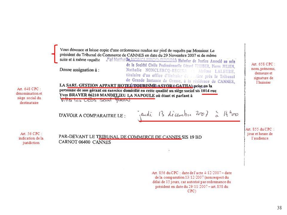 Art. 658 CPC : nom, prénoms, demeure et signature de l'huissier