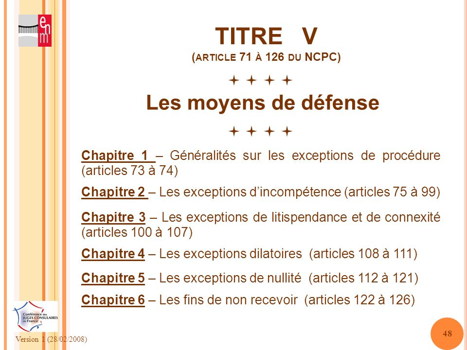 TITRE V (article 71 à 126 du NCPC)
