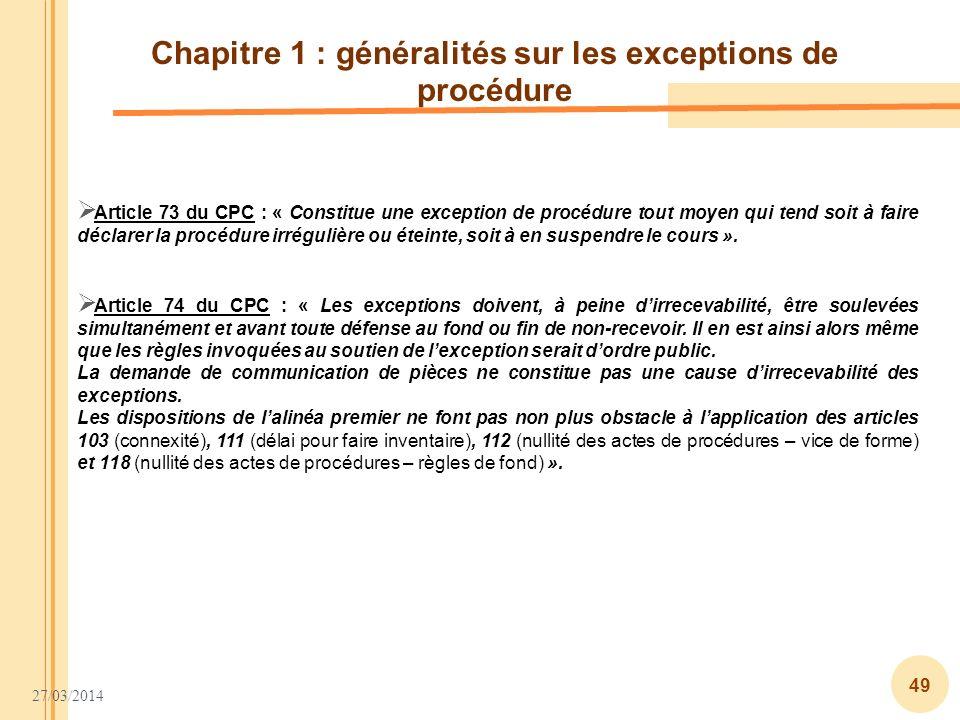 Chapitre 1 : généralités sur les exceptions de procédure