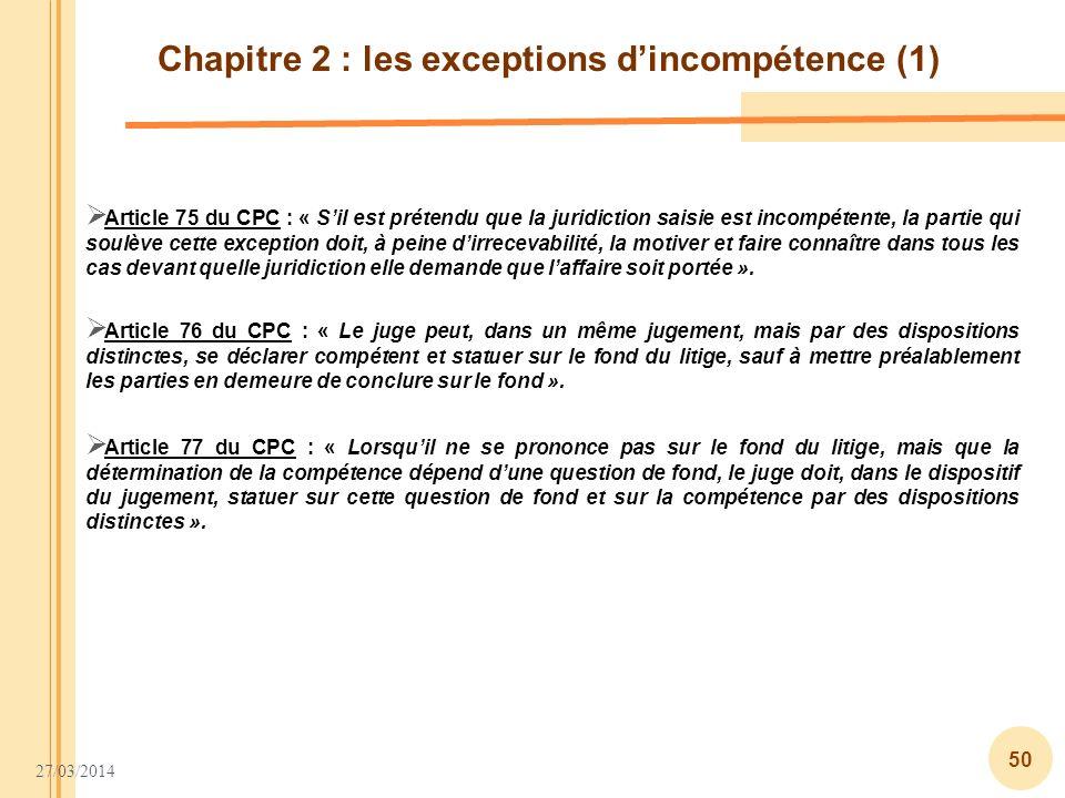 Chapitre 2 : les exceptions d'incompétence (1)