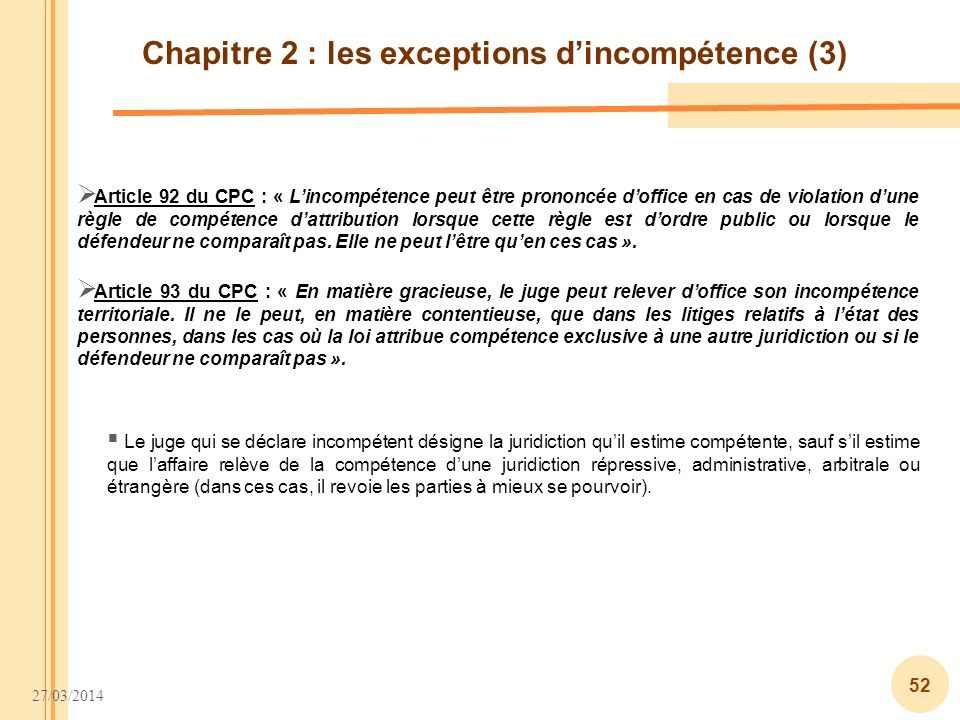 Chapitre 2 : les exceptions d'incompétence (3)