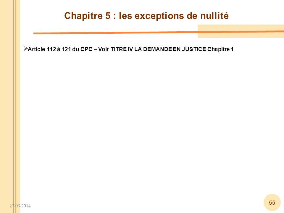 Chapitre 5 : les exceptions de nullité