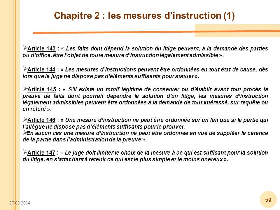 Chapitre 2 : les mesures d'instruction (1)