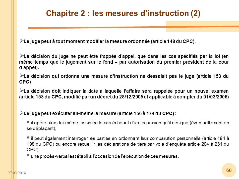 Chapitre 2 : les mesures d'instruction (2)