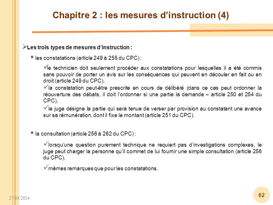 Chapitre 2 : les mesures d'instruction (4)