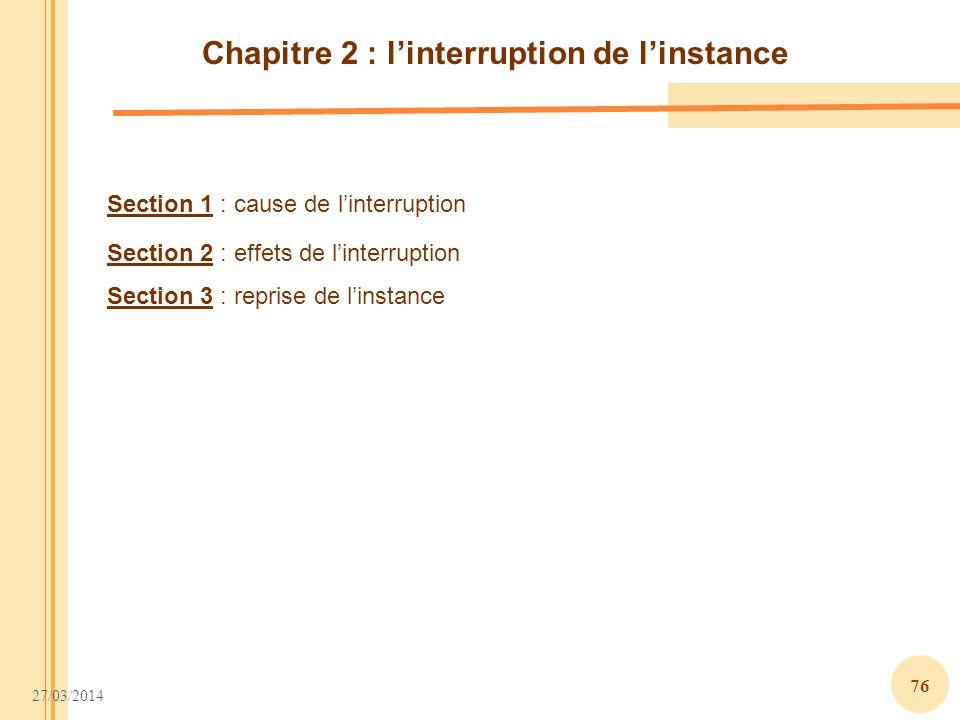 Chapitre 2 : l'interruption de l'instance