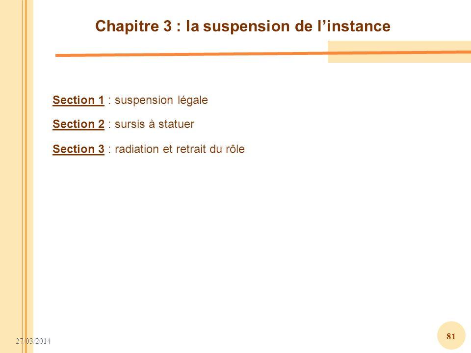 Chapitre 3 : la suspension de l'instance
