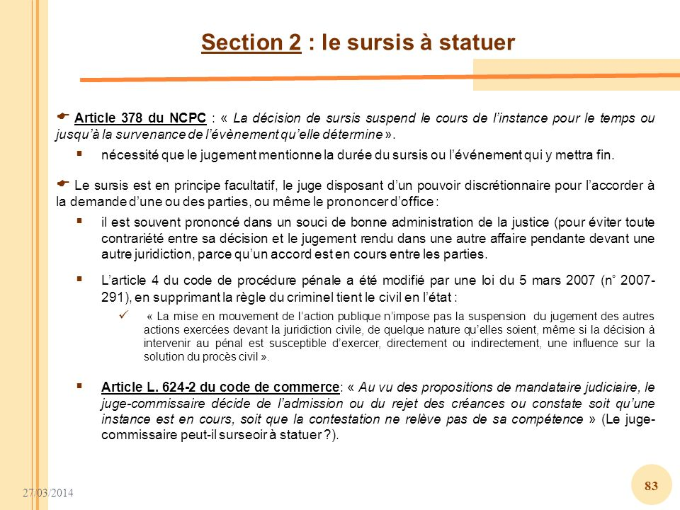 Section 2 : le sursis à statuer