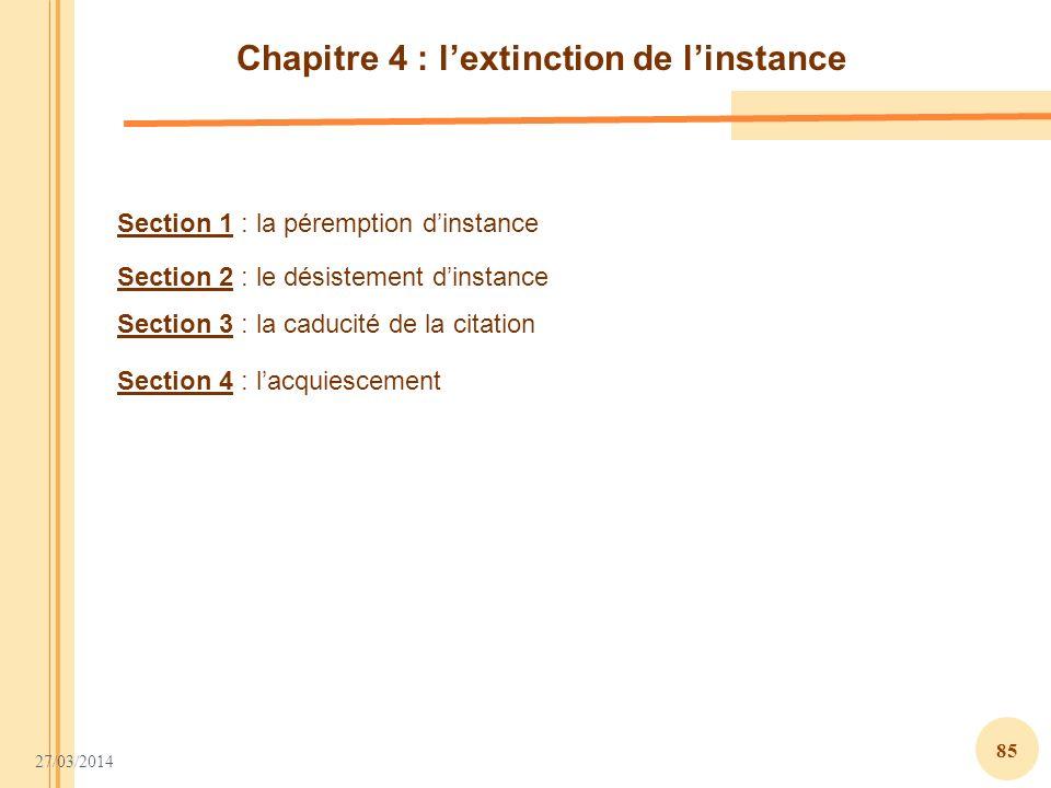 Chapitre 4 : l'extinction de l'instance
