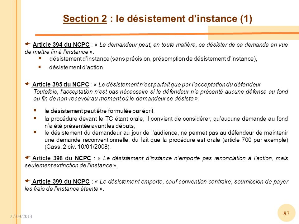 Section 2 : le désistement d'instance (1)