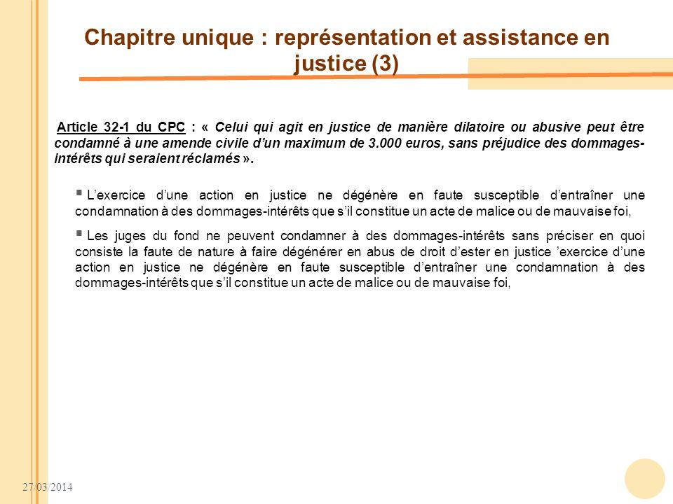 Chapitre unique : représentation et assistance en justice (3)