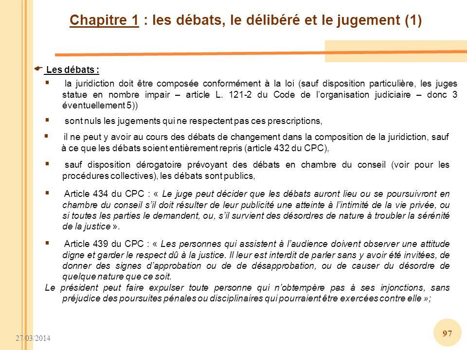 Chapitre 1 : les débats, le délibéré et le jugement (1)