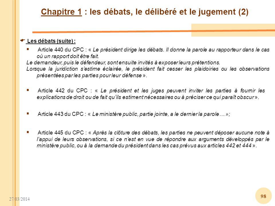 Chapitre 1 : les débats, le délibéré et le jugement (2)