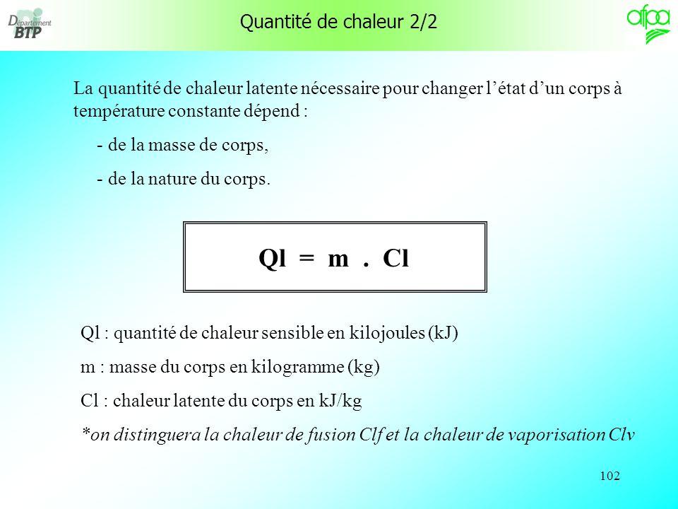 Ql = m . Cl Quantité de chaleur 2/2